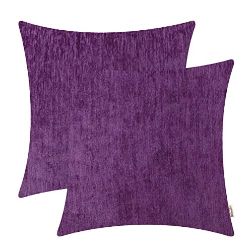 BRAWARM Comfy Throw Pillow Covers Cases for Couch Sofa Bed Solid Soft Chenille Striped Cushion Covers Cozy Textured Pillowcase Both Sides for Home Decoration 18 X 18 Inches Plum Purple Pack of 2