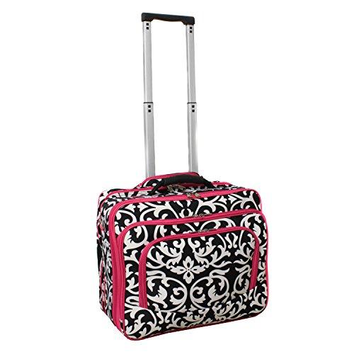 World Traveler Fashion Print Women's Rolling 17-Inch Laptop Case, Pink Trim Damask, One Size