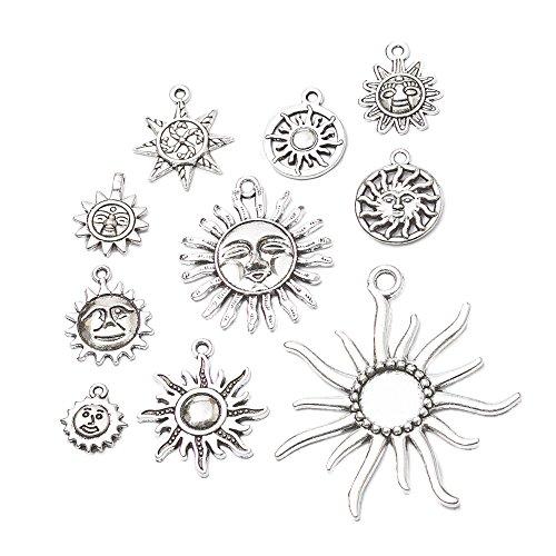 (20 pcs Mix Sale Vintage Silver Charms Sun Pendant Fit Bracelets Necklace DIY Metal Jewelry Making(20pcs-Sun))
