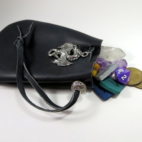 Black Leather Drawstring Pouch with Flying Dragon Pewter Accent and Bead