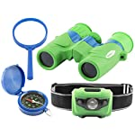 Explorer Set for Kids: Binoculars, LED Headlamp, Compass, Magnifying Glass: Fun and Educational Kit for Indoor and Outdoors Play, Bird and Nature Watching, Camping, Sports; Great Children's Gift