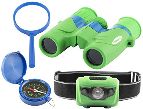 Explorer Set for Kids: Binoculars, LED Headlamp Flashlight, Compass, Magnifying Glass: Fun and Educational; Indoor and Outdoor Set for Kids; Bird and Nature Watching, Camping, Sports, Play; Great (Explorer Set)