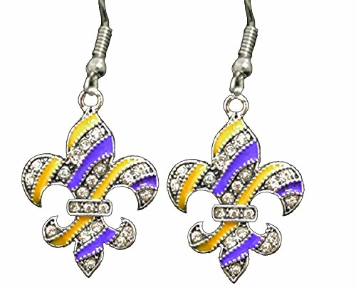 LSU Purple & Gold Fleur de Lis Earrings Embellished with Clear Crystal Rhinestones.GEAUX Tigers!