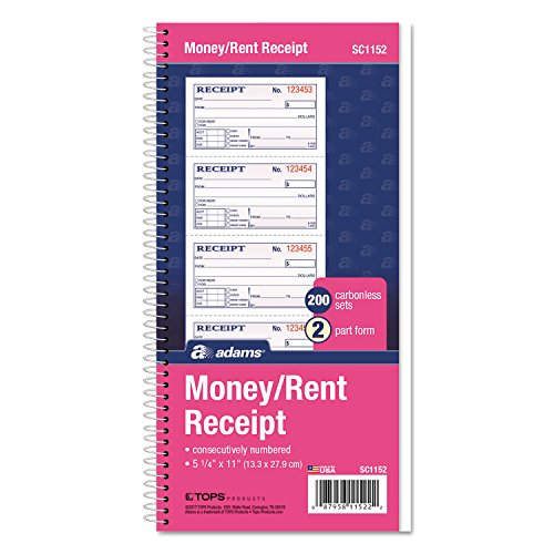 Adams SC1152 Money/Rent Receipt Book, 2-Part, 11 x 5-1/4, 200 Sets/Book by Office 4 All (Image #2)