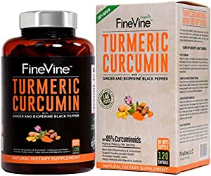 Turmeric Curcumin with BioPerine Black Pepper and Ginger - Made in USA -  120 Vegetarian Capsules for