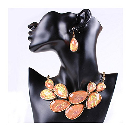 1860 Italy Antique (Darkey Wang Woman Colorful Fashion Jewelry Exaggerated Teardrop-Shaped Necklace Earring Sets(Pink))