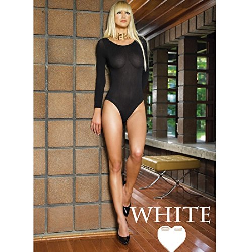 Avenue Opaque Bodysuit (Leg Avenues Womens 140D Opaque Long Sleeves Bodysuit - One Size (White))