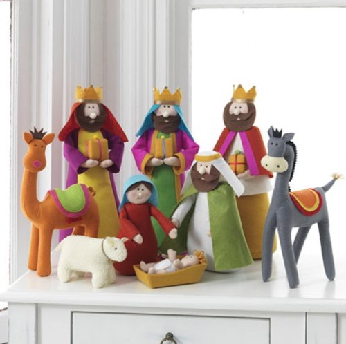 Large Fabric Christmas Nativity Set, 9 Pieces, 15.5 Inch Tall by Betsey Cavallo by Betsey Cavallo