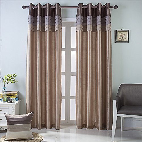 (GYROHOME Fully Lined Luxury Faux Silk Blackout Curtains Thermal Insulated Room Darkening Engery Saving Drape Noise Reducing No Formaldehyde for Living Room Bedroom)