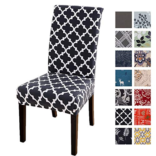 Printed Dining Chair Slipcovers, Removable Washable Soft Spandex Stretch Chair Covers Banquet Chair Seat Protector Slipcover for Kitchen Home Hotel (Set of 6, Black Geometric)