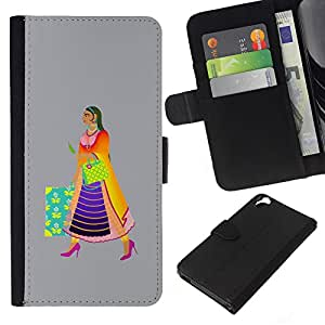 KLONGSHOP // Tirón de la caja Cartera de cuero con ranuras para tarjetas - Edad Media fuera - HTC Desire 820 //