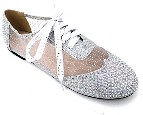 Oxfords Casual Rhinestones Wen 01 Silver Detail Lace Shoes Flats Gold Silver Up Bootie Black Women's Mesh Lace qnqEIrPx