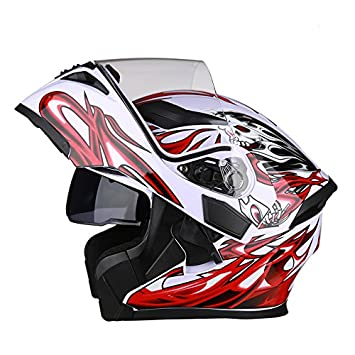Casco de Moto con Bluetooth Flip Up casco, B