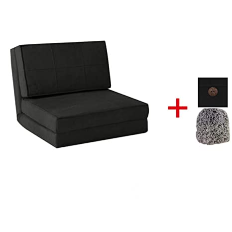 Flip Chair Convertible Sleeper Dorm Bed Couch Lounger Sofa (Suede Material, Rich Black Bundle)