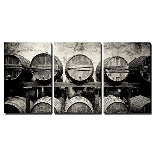 Barrels Stacked in The Winery in Black and White x3 Panels