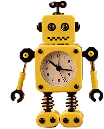 Non-Ticking Robot Alarm Clock Cartoon Metal Wake-up Clock with Flashing Eye Lights and Hand Clip Design Yellow
