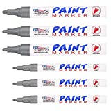 U.S. Art Supply Set of 6 Metallic Silver Oil Based Paint Pen Markers, 3 Medium and 3 Fine Point Tips - Permanent Ink that Works on Most Surfaces Glass, Wood, Metal, Rubber, Stone, Arts, Crafts & Tools