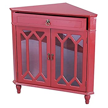 Heather Ann Creations Modern 2 Door Corner Cabinet With Drawer With Cathedral Glass Insert Red