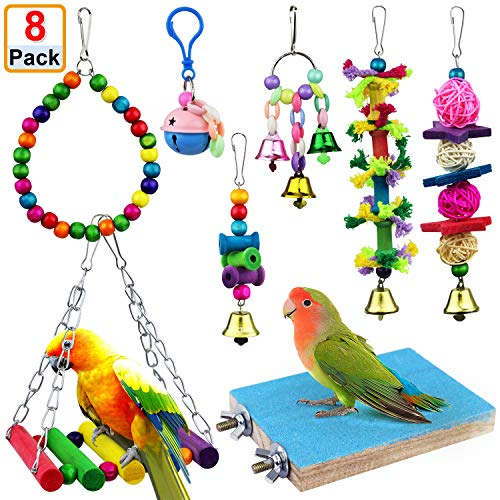 AK KYC 8 Pack Bird Parrot Toys Swing Chewing Hanging Bell Cage Hammock Toy for Small Parakeets Cockatiels Conures…