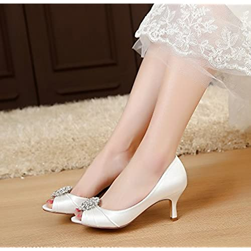 f13867e8769 LUXVEER Sexy Women Shoes with Rhinestone Brooch Lace Wedding Shoes Low Heel  Bridal Shoes 2.5inch