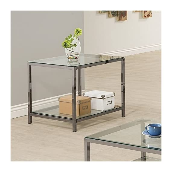 Coaster Home Furnishings End Table with Shelf Black Nickel and Clear - Set includes: One (1) end table Materials: Glass and Metal Finish Color: Black Nickel and Clear - living-room-furniture, living-room, end-tables - 51zd47gFoEL. SS570  -