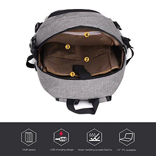 Nlyefa nuevo estudiante de tendencia backpack portátil con puerto USB para 14 pulgadas portátil de viaje al aire libre bolsa de negocios 26 cm * 13 cm * 48 cm