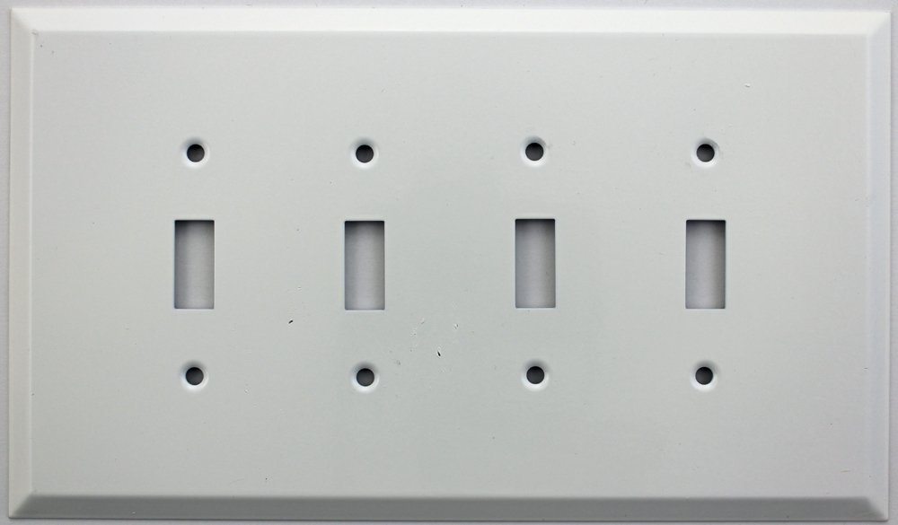 Over Sized Jumbo Smooth White Stamped Steel Four Gang Wall Plate - Four Toggle Switches