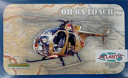 OH-6A Loach Helicopter US Army 1-48 Plastic Kit Atlantis (Plastic Model Helicopter)