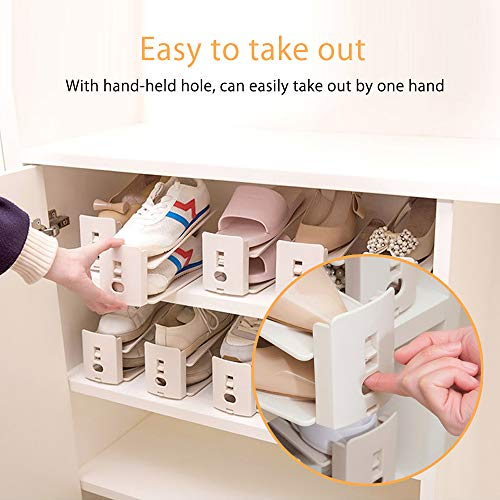 bedee Shoe Slots Space Saver for Closet Adjustable Shoe Organizer 3-Level Height Durable Stacker Organizer Shoe Racks Space Holder Savor Shoe Storage for Home