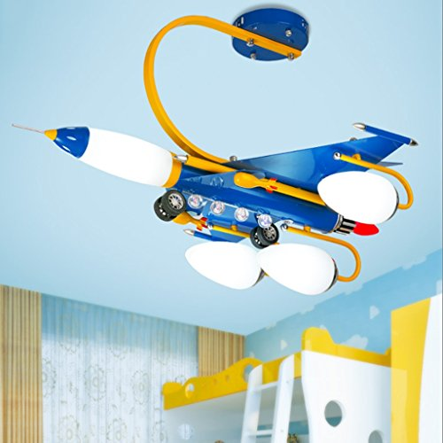 Creative Children's Room Ceiling Lamps, Blue Boys And Girls Airplane Lights, LED Bedroom Cartoon Lights by Cang teacher