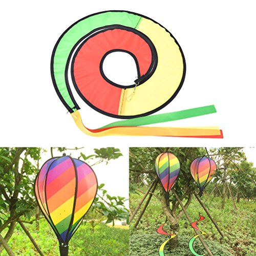 Rainbow Stripe Windsock - VIPASNAM-Rainbow Stripe Windsock Hot Air Balloon Wind Spinner Garden Yard Outdoor Decor T