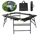 Nurth Metal mesh Multi-Function Splicing BBQ Side Table Large-Scale Folding Table/Iron Charcoal Barbecue Grill Camping Outdoor Heavy Duty BBQ Grill with Bag for Beach,Backyards,BBQ,Party and Picnic