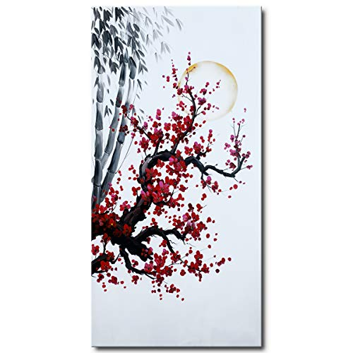Hand Painted Chinese Oil Painting Plum Blossom with Bamboo Wall Art Red Flower Canvas Artwork