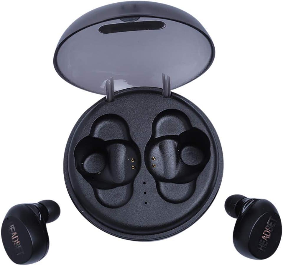 Yukuai True Mini Wireless Earbuds Bluetooth Headphones Earphones in-Ear, LED Sports Waterproof Noise Cancelling TWS Stereo Car Earphone Headset with 350mAh Charging Box (Black)