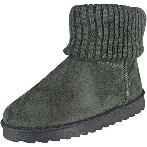 Damen Faux Pelz Socke Winter Warm Niedrig Hacke Knöchel Stiefel Größe 36-41 Grau
