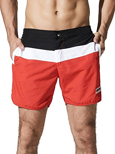 Neleus Men's Dry Fit Swim Trunks Long Athletic Sports Shorts with Pockets,719,Red,XS,Tag - Mens Swimsuit Triathlon