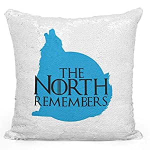 "Sequin Throw Pillow The North Remembers House Stark Wold Game Of Thrones Tv Show Pillow Printed White Silver Sequin - 16"" x 16"""