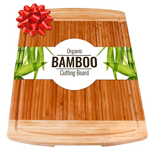 Large Wood Cutting Board with handles & Juice Groove for Carving Vegetables or Meat Serving Tray for Cheese or salami (Best Cutting Board For Cooked Meat)