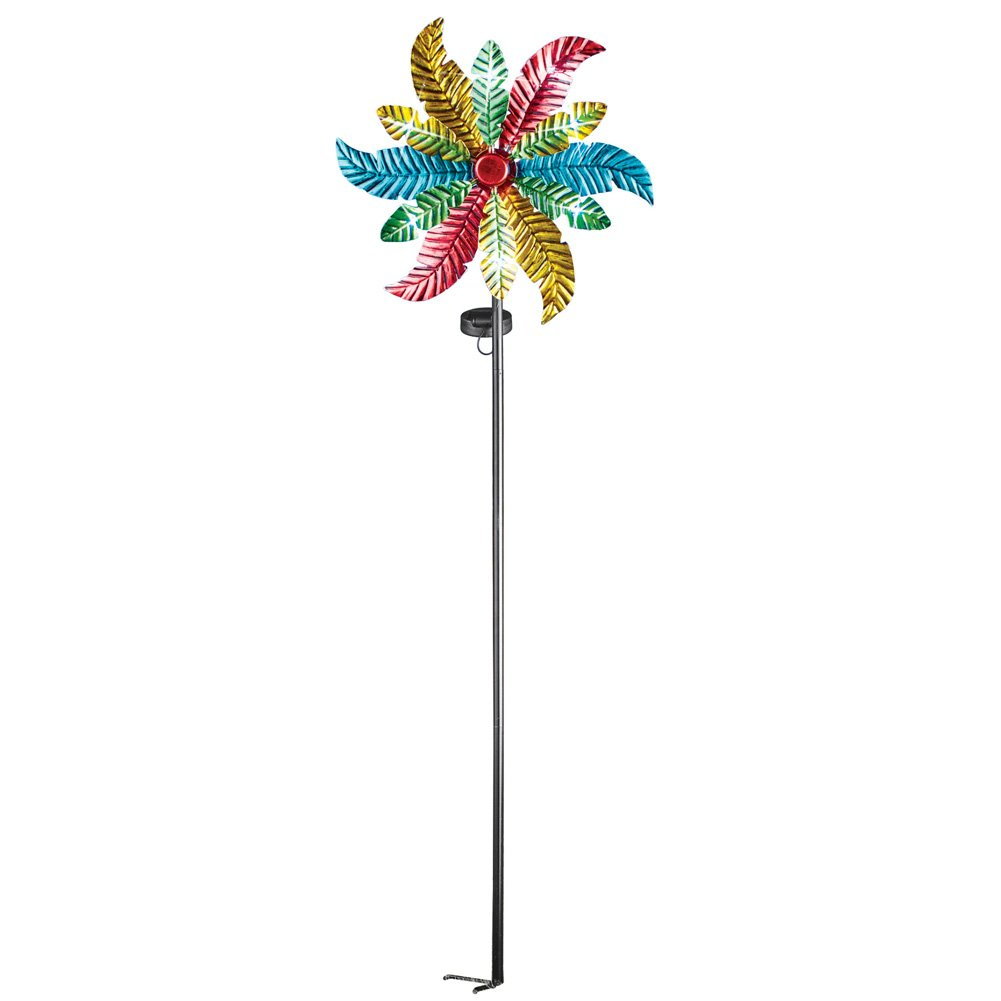 Collections Etc Colorful Leaves Solar Wind Spinner Garden Decoration, Lighted Yard Stake