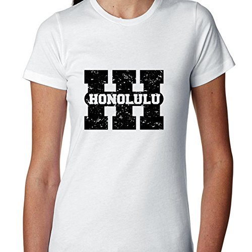 Hollywood Thread Honolulu, Hawaii Hi Classic City State Sign Women's Cotton T-Shirt for $<!--$21.90-->