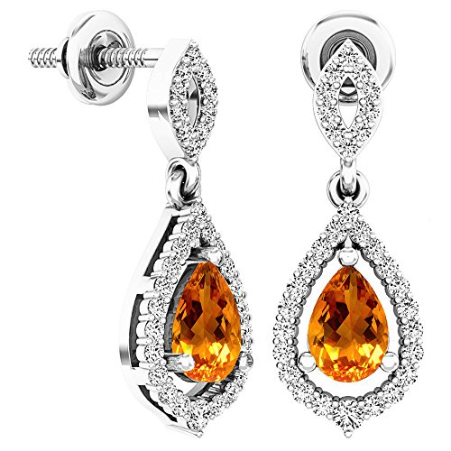 Dazzlingrock Collection 6X4 MM Each Pear Citrine & Round White Diamond Ladies Dangling Drop Earrings, Sterling -
