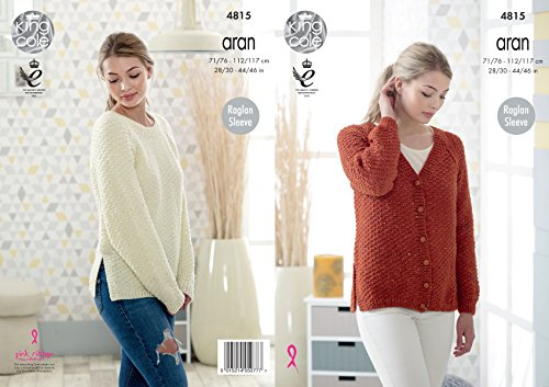 King Cole Ladies Aran Knitting Pattern Womens Raglan Sleeve Split Hem Cardigan & Sweater ()
