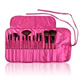 SHANY Professional 12 - Piece Natural Goat and Badger Cosmetic Brush Set with Pouch - Pink