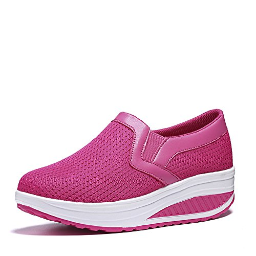 Thick Loafers Casual Sole Pink Comfort Color Heels Platform Mid Sneakers Shoes YUBUKE Solid Womens nUTqSScH