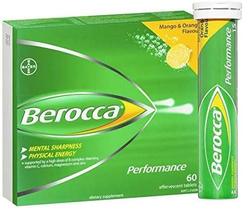 Berocca Performance Mango and Orange Effervescent 60 Tablets Exclusive Size
