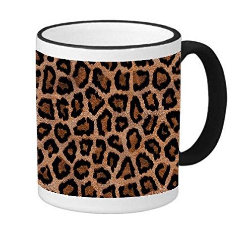 Leopard Print Design Pattern 11 ounce Black Rim/Handle Ringer Ceramic Coffee Mug Tea Cup by Moonlight Printing ()