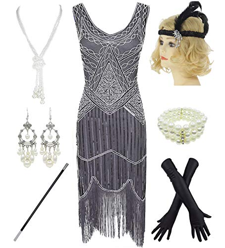 1920s Gatsby Sequin Fringed Pais...