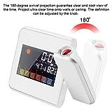 Powstro Projection Alarm Clock Digital LED Forecast Weather LCD Display Desk Clock