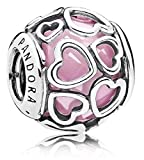 Pandora Encased in Love Silver Charm with Pink Cubic Zirconia 792036PCZ