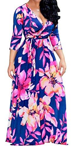 Maxi Swing Multi As7 V Neck Dress Big Digital Floral Coolred Waist Hi Print Color Women wfqTnCS